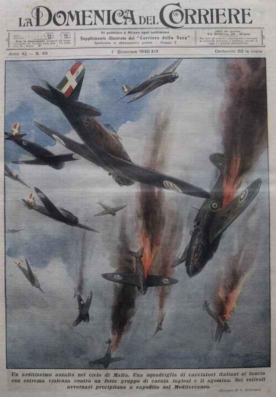 Воздушный бой между самолетами ВВС Италии и Великобритании в близи от острова Мальта - Achille Beltrame