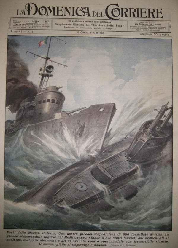 Торжество итальянского Военно-морского флота. Торпедный катер ВМФ Италии отважно таранит британскую подводную лодку посреди Средиземного моря и пускает ее на дно - Achille Beltrame