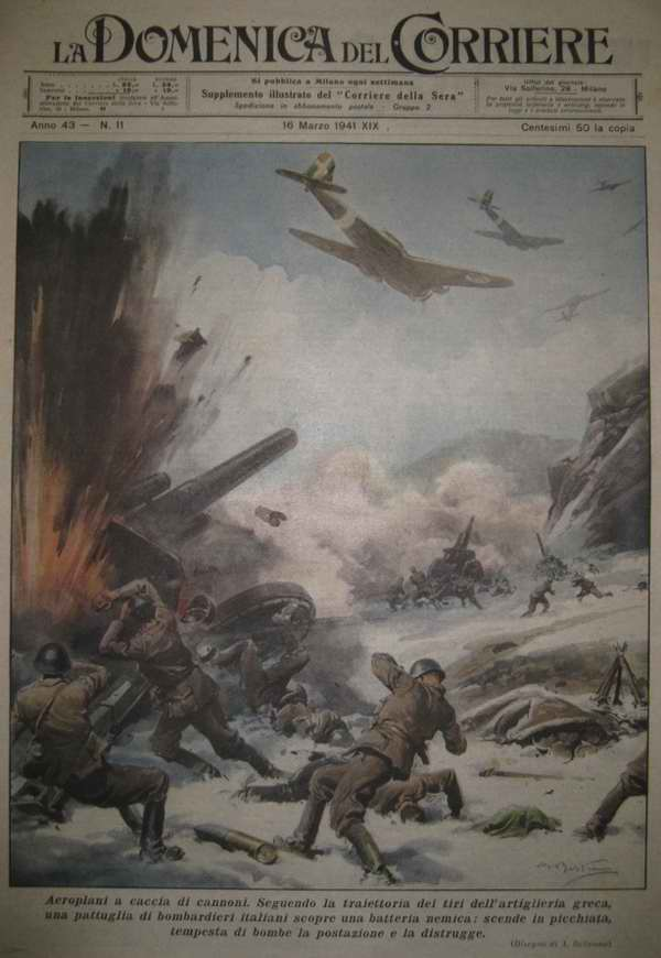Итальянские самолеты наносят бомбовый удар по артиллерийской батарее Греческой армии - Achille Beltrame