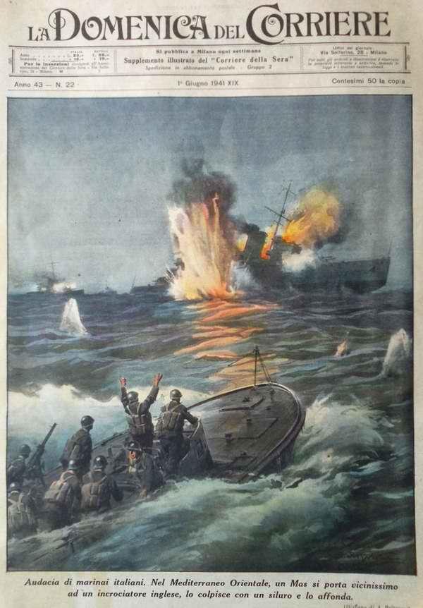Дерзкая атака итальянских моряков. В восточной части Средиземного моря торпедный катер уничтожает британский крейсер - Achille Beltrame