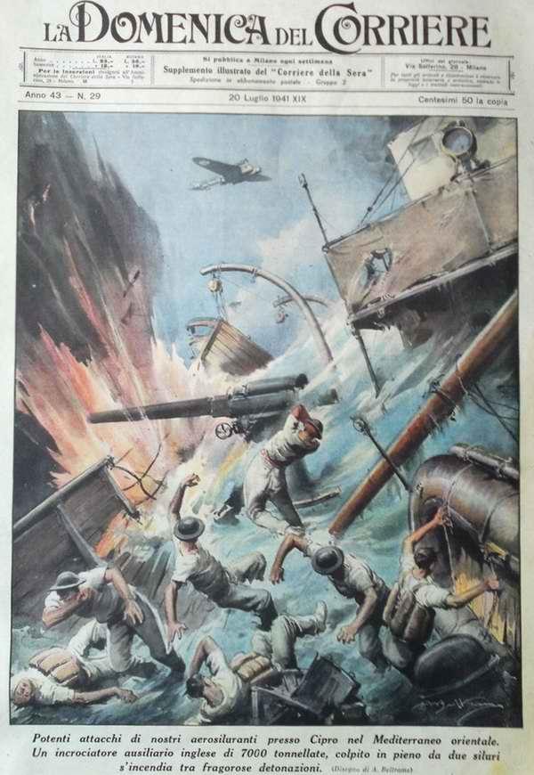 Мощная бомбардировка самолетов итальянских ВВС в Средиземном море вблизи Кипра. В результате детонации от взрыва авиабомбы был затоплен вспомогательный крейсер ВМФ Великобритании - Achille Beltrame