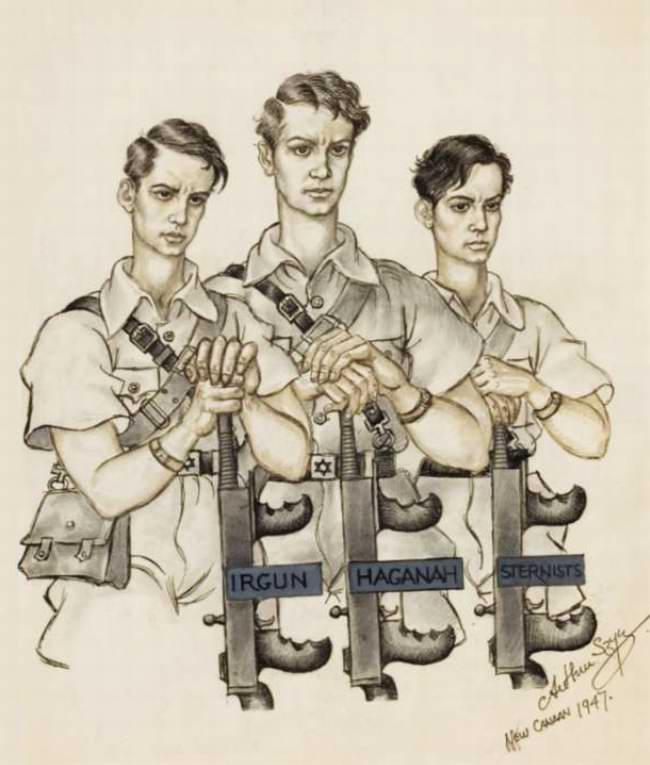 Irgun, Haganah, Sternists (Названия еврейских военизированных организаций на территории будущего Израиля) - Arthur Szyk
