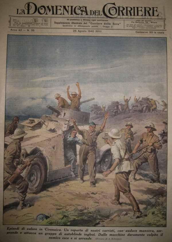 Один из эпизодов сражения в Киренаике. Подразделение итальянских танкистов неожиданно нападет на колонну британских бронеавтомобилей и берет в плен их экипажи - Achille Beltrame