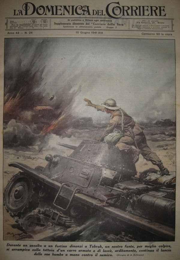 Во время штурма укрепленных позиций противника вблизи ливийского города Тобрук итальянскими стрелками была успешно использована тактика метания ручных гранат с брони движущихся танков - Achille Beltrame