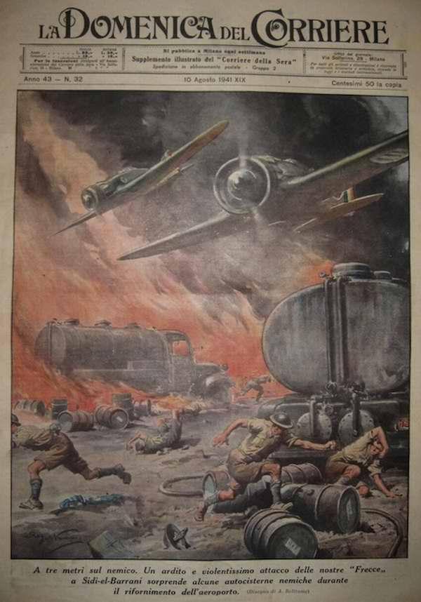 Во время атаки британского военного аэродрома в окрестностях города Сиди эль-Баррани итальянскими истребителями - Achille Beltrame