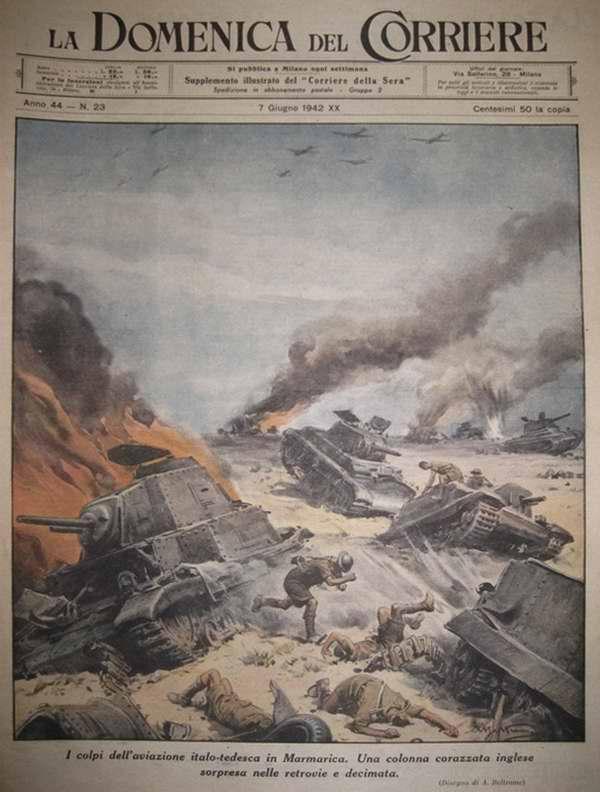 Результаты действий итальяно-германской авиации. Неожиданный налет со стороны вражеского тыла завершился почти полным уничтожением британской танковой колонны - Achille Beltrame
