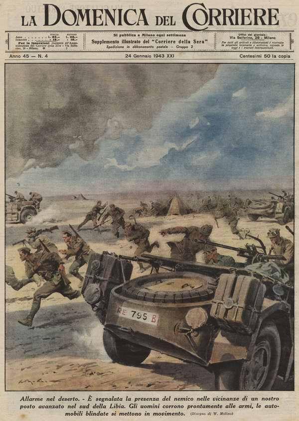 При обнаружении любых признаков появления передовых групп противника поблизости от форпостов итальянской армии на юге Ливии, солдаты тут же поднимаются по тревоге - Walter Molino