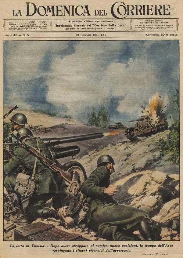 Боевые действия в Тунисе. В случаях когда противнику удается прорвать передовые позиции итальяно-германских союзников, в действие вступают их ударные группы, которые быстро останавливают врага - Walter Molino