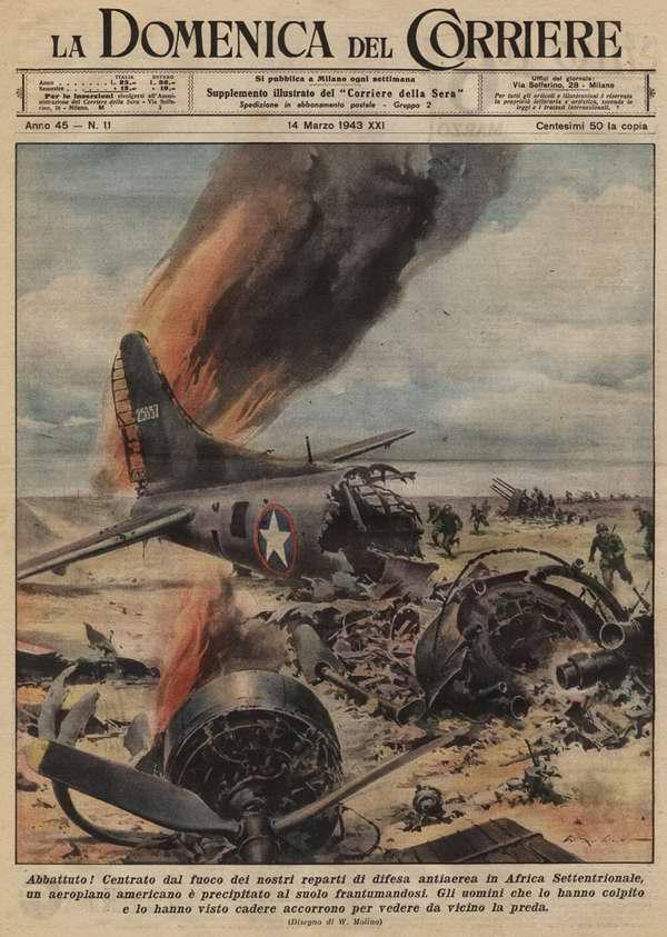 В результате успешных действий подразделений ПВО в Северной Африке был уничтожен американский военно-транспортный самолет, который развалился на части от удара о землю - Walter Molino