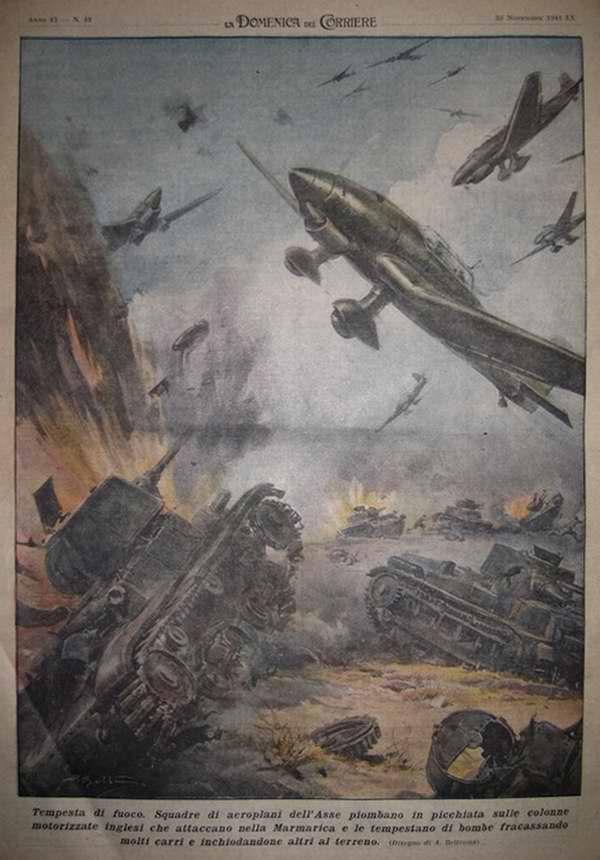 Огненный шторм. Эскадрилья бомбардировщиков германских и итальянских ВВС осуществила неожиданный налет на механизированную колонну англичан в окрестностях Мармарики - Achille Beltrame