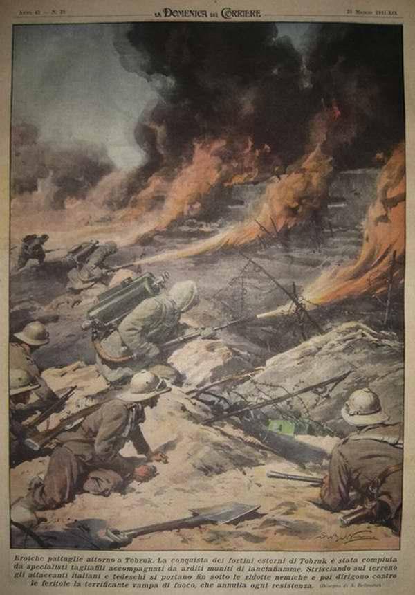 Героический штурм Тобрука. Захват фортов в окрестностях Тобрука был осуществлен с применением огнеметов - Achille Beltrame