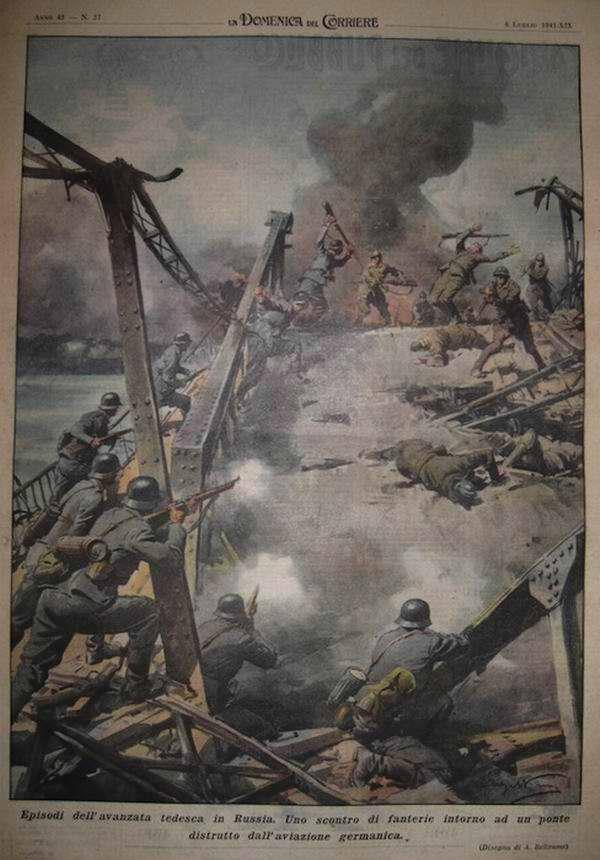 Эпизод наступления немецких войск в России. Бой между германской и советской пехотой возле моста, разрушенного ударом немецкой авиации - Achille Beltrame