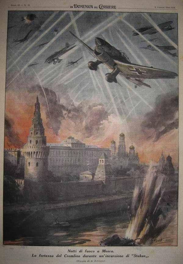Немецкие Юнкерсы в небе над московским Кремлем - Achille Beltrame