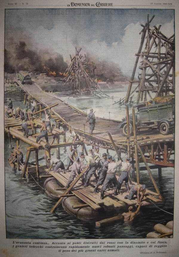 На месте капитальных мостов, которые были взорваны отступающими частями Красной Армии, немецкие саперы быстро возводят понтонные переправы и временные мосты - Achille Beltrame