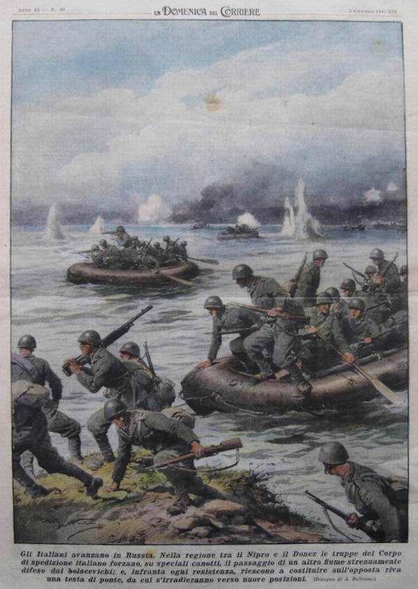 В области между реками Днепр и Северский Донец войскам Итальянского экспедиционного корпуса в ходе своих действий приходится часто использовать специальные лодки - Achille Beltrame