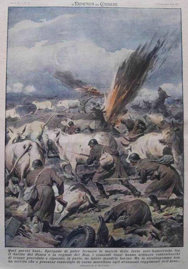 В стремлении остановить наступление вражеских войск на территории Ростовской области командование Красной Армии отдало приказ своим войскам двинуться в контрнаступление, смешавшись с большими стадами коров - Achille Beltrame