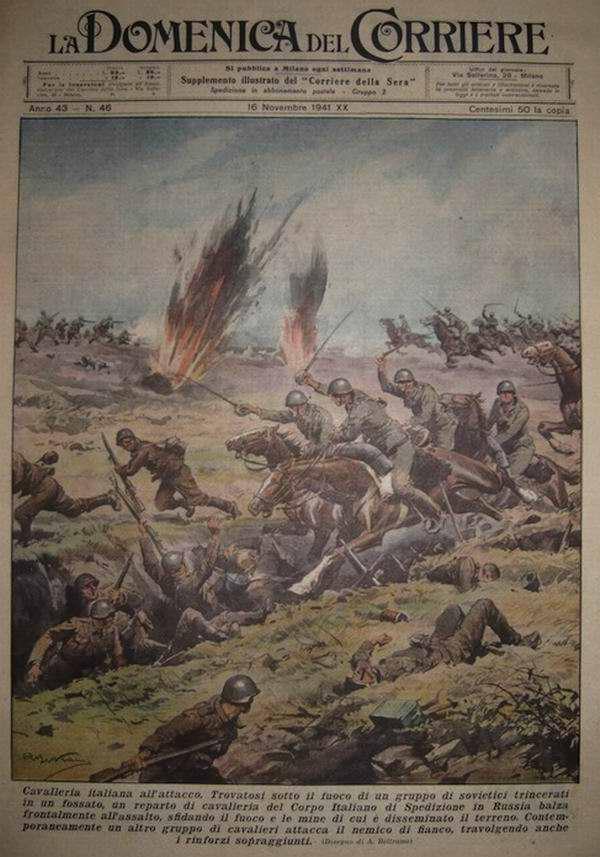 Итальянская кавалерия атакует отступающие советские войска - Achille Beltrame