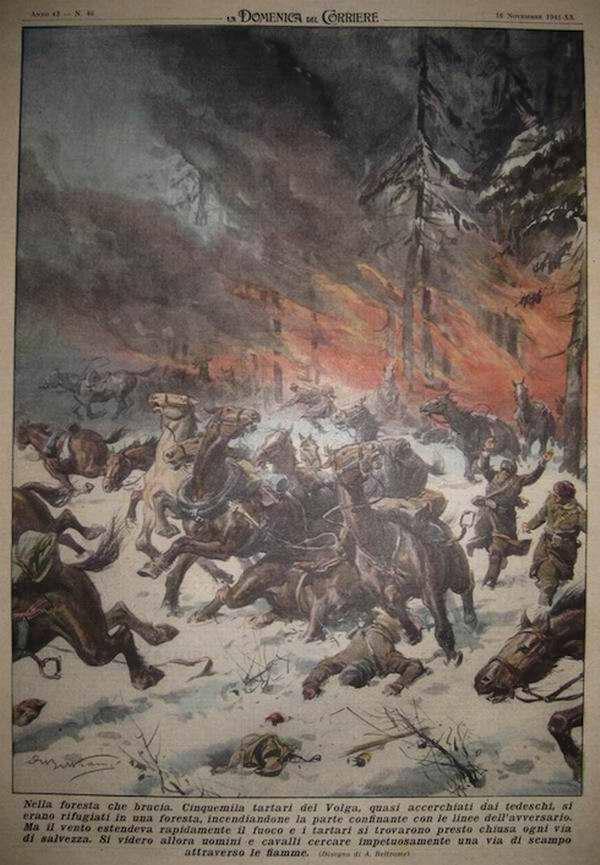 Группа красноармейцев, которая оказалась почти окруженной немецкими войсками, в своем стремлении вырваться попыталась скрыться в горящем лесу - Achille Beltrame