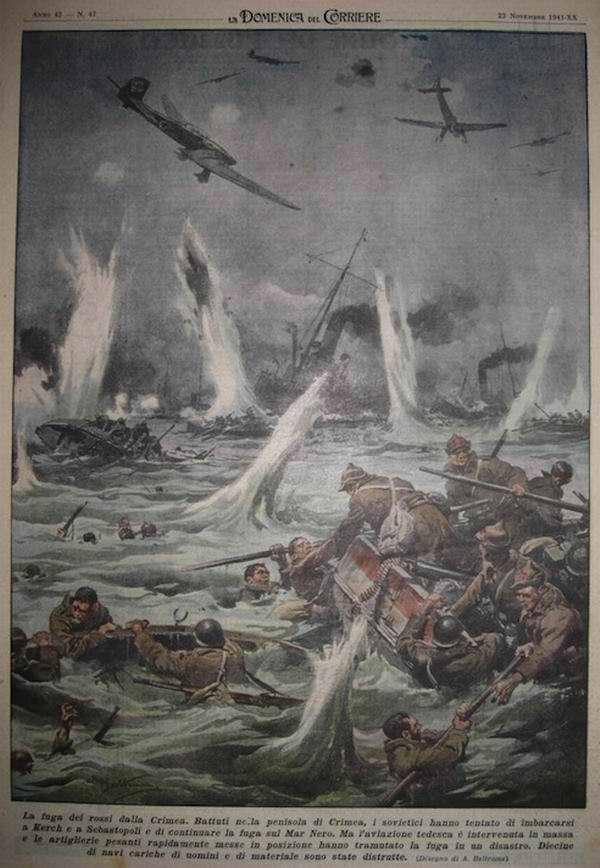 Военные действия на Крымском полуострове - советское командование попыталось отправить морской десант из Керчи в сторону осажденного Севастополя - Achille Beltrame