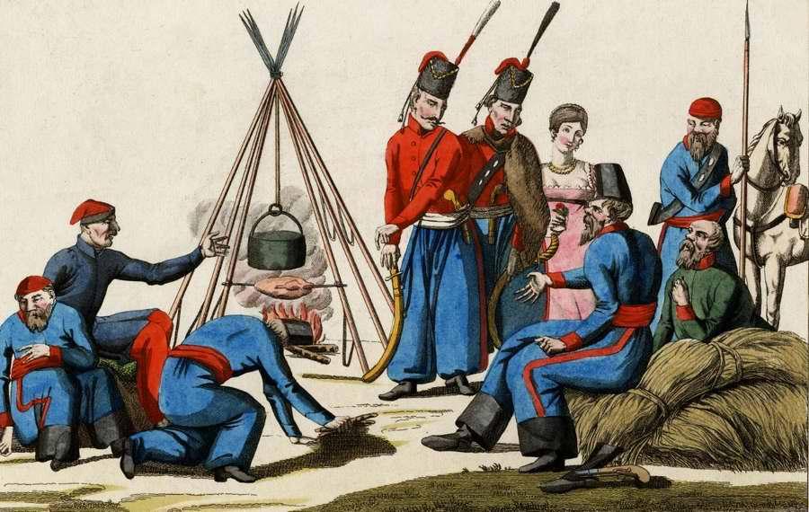 Возле полевой кухни в походном лагере войск русской армии (1815 год)