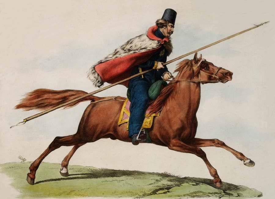 Донской казак, скачущий верхом на коне