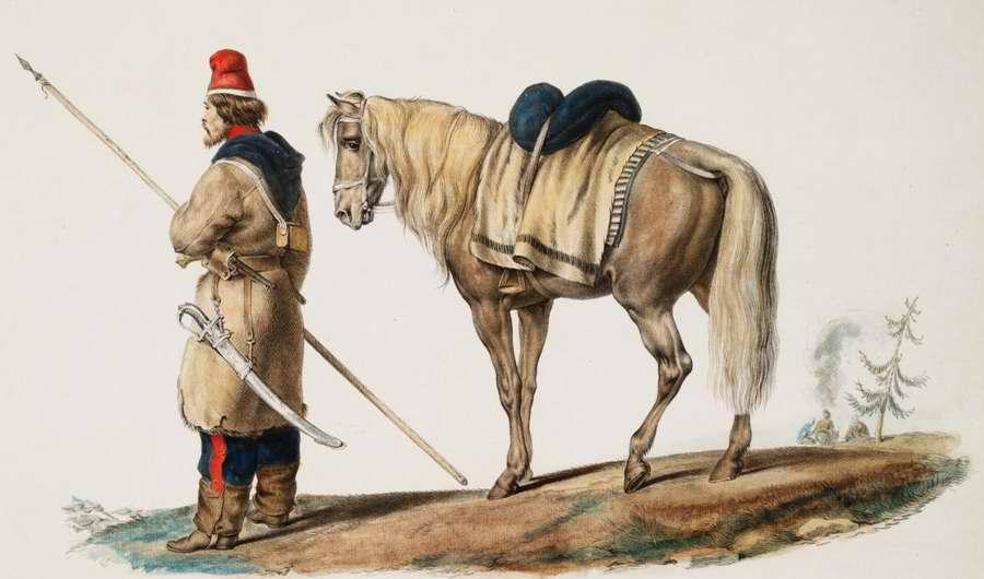 Казак, спешившийся с коня