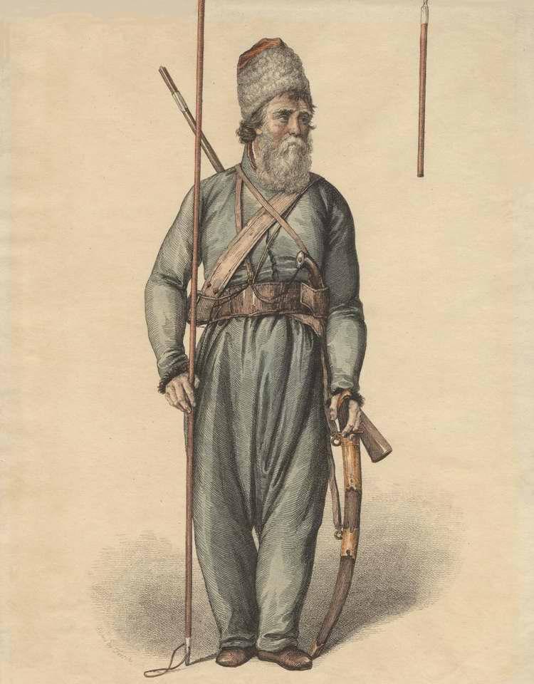 Донской казак с оружием и в походном снаряжении