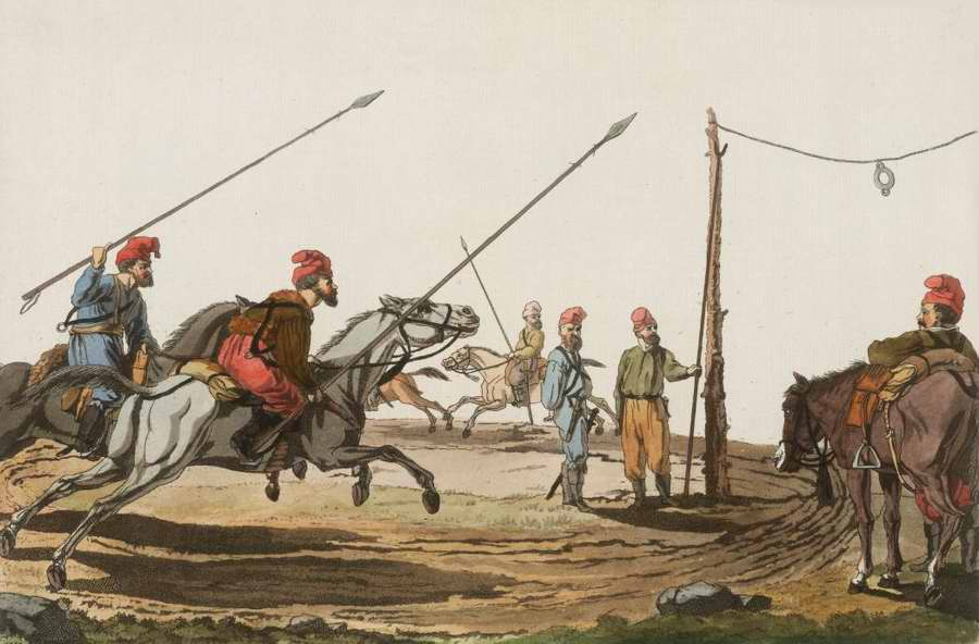 Казаки в процессе выполнения тренировочного упражнения на лошадях