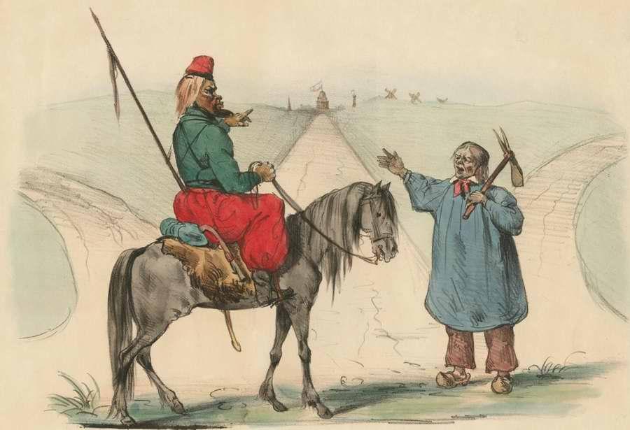 Казак спрашивает у встречного французского крестьянина о том, как ему добраться до Парижа