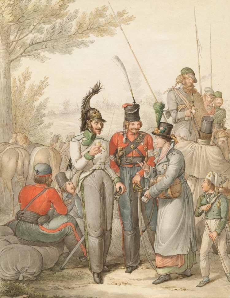 Казаки в Германии - с торговкой вином (1813)