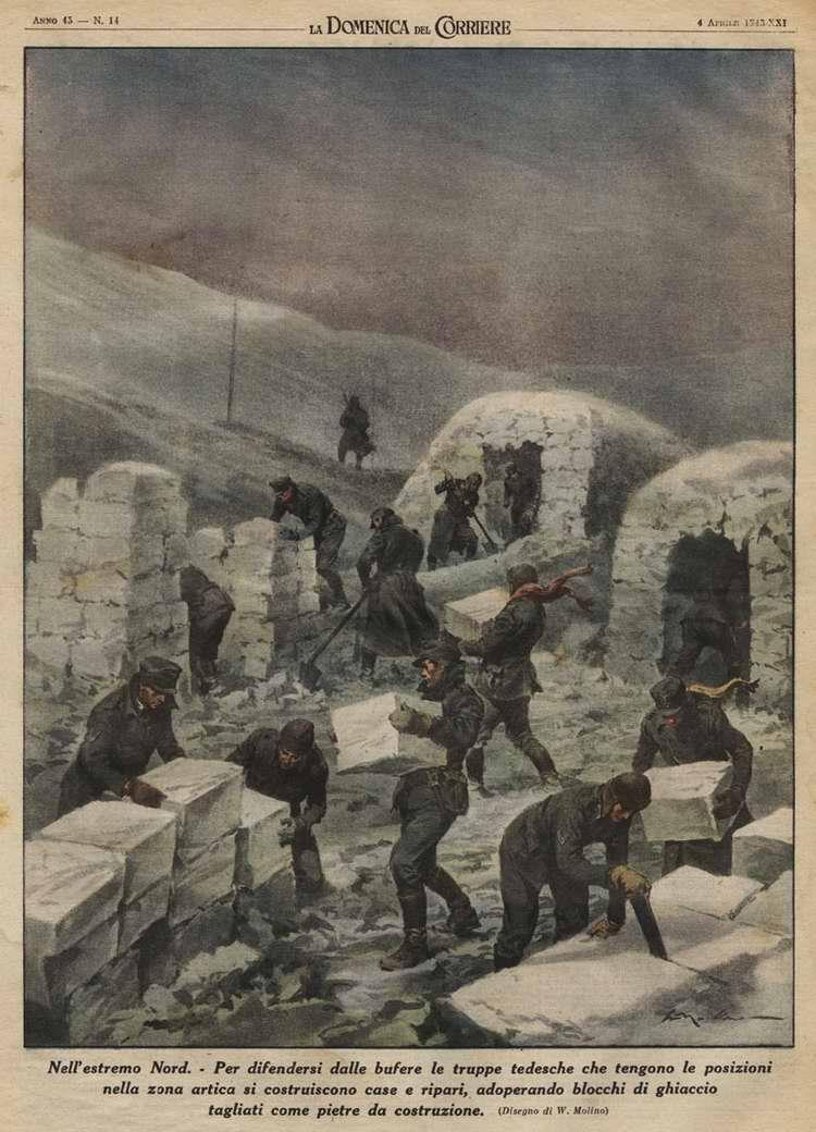 В условиях Крайнего Севера. Солдаты немецких войск, которые ведут войну в Заполярье, будут строить землянки и убежища, используя специально вырезанные ледяные блоки - Walter Molino