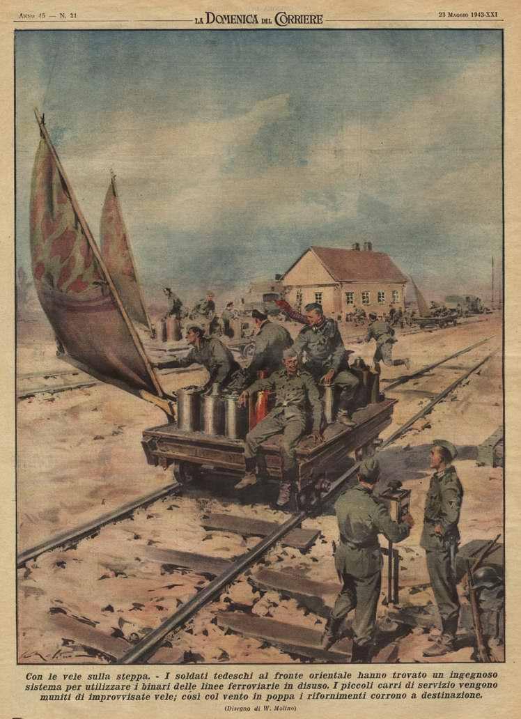 Под парусами посреди степи. Тележки дрезин, оборудованные импровизированными парусами, обеспечивают немецким солдатам возможность беспроблемной организации повседневного снабжения - Walter Molino