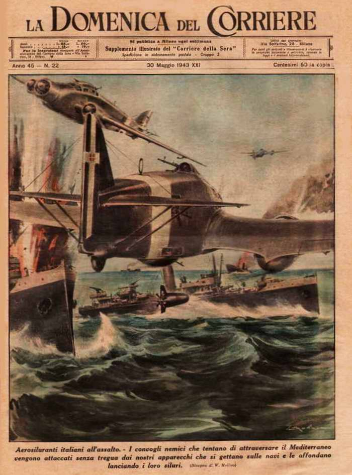 Итальянские торпедные атаки. Вражеские конвои при попытках пересечь Средиземное море всякий раз подвергаются налетам самолетов-торпедоносцев ВВС Италии, которые их уничтожают и пускают на дно - Walter Molino