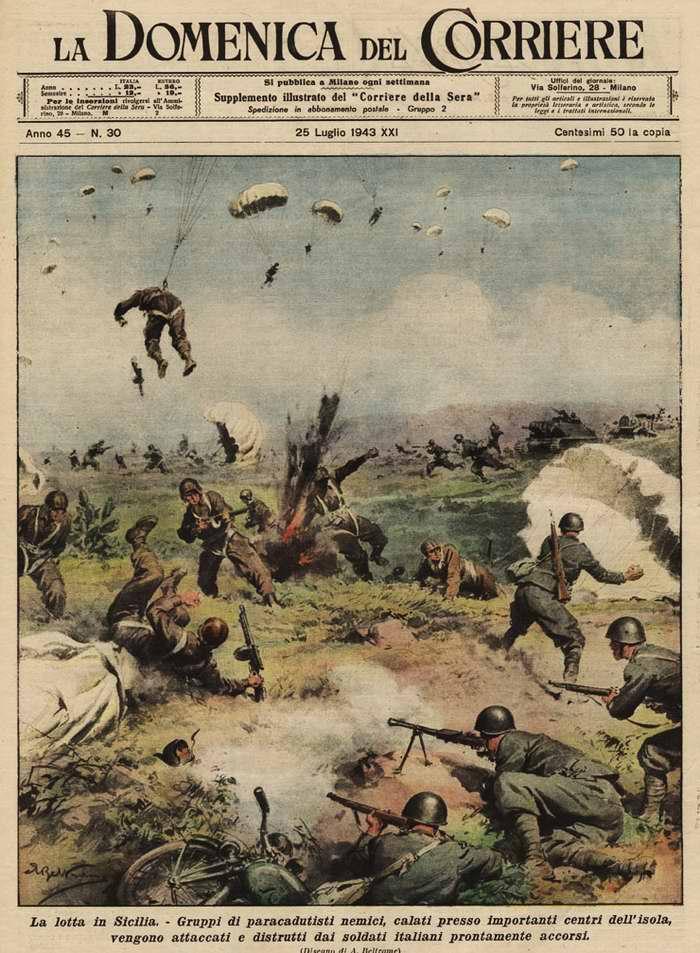 Боевые действия в Сицилии. Группы вражеских десантников были стремительно атакованы и уничтожены подразделениями солдат итальянской армии - Walter Molino