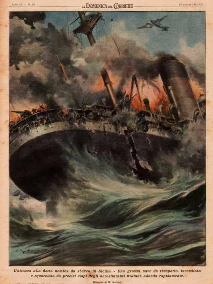Нападение на вражеский флот, направленный для высадки морского десанта на побережье Сицилии. Итальянскими самолетами-торпедоносцами был потоплен большой транспортный корабль противника - Walter Molino