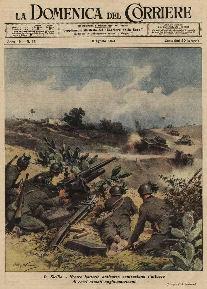 На Сицилии. Противотанковые батареи итальянской армии успешно противостоят танковым атакам англо-американцев - Achille Beltrame