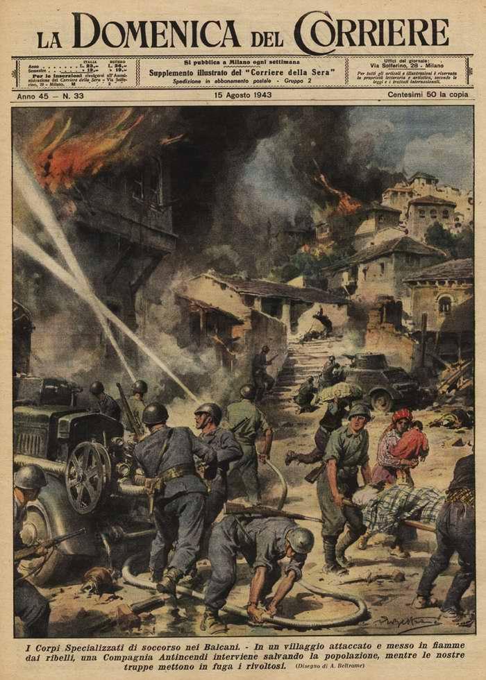 Специализированный корпус спасения на Балканах. В деревне, подожженной местными повстанцами, члены корпуса занимаются пожаротушением и оказанием помощи мирному населению - Achille Beltrame