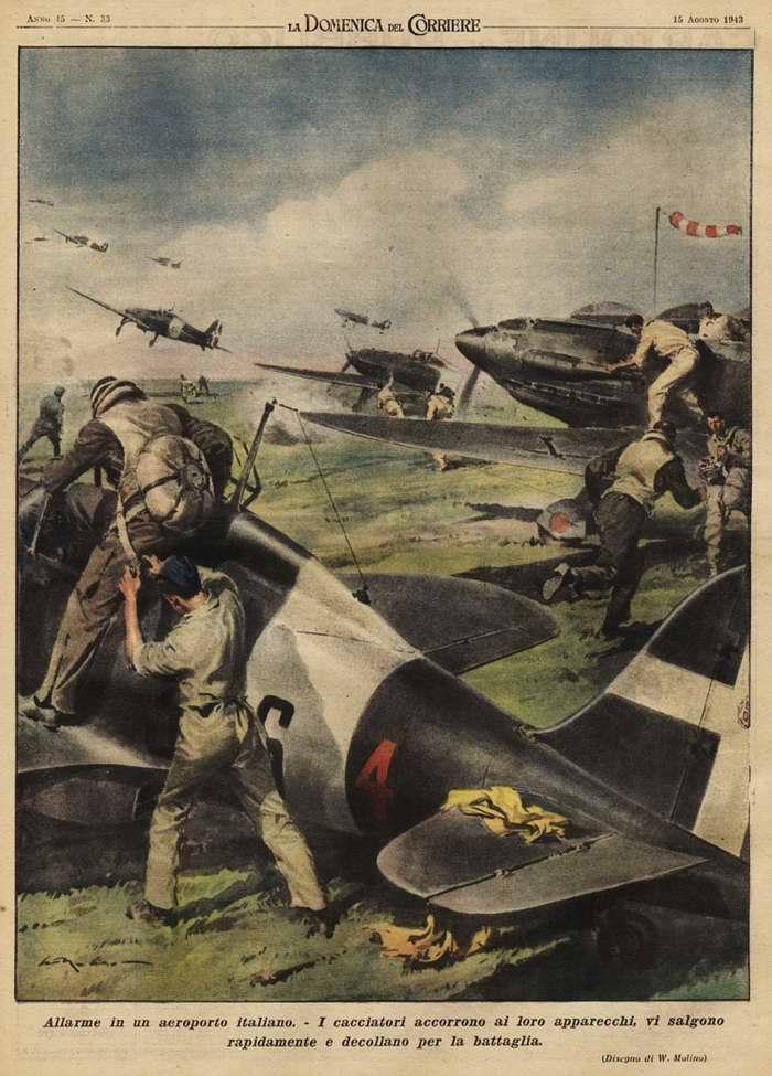 Тревога на итальянском военном аэродроме. Пилоты истребителей стремительно занимают места в своих боевых машинах, чтобы тут же взлететь и устремиться в бой с врагом - Walter Molino