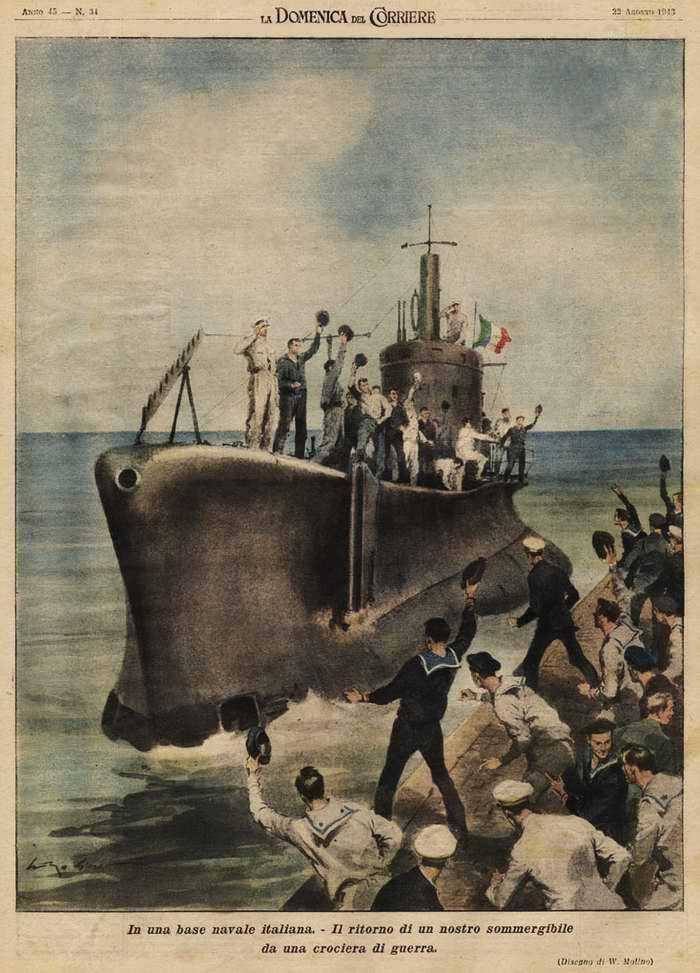 На итальянской военно-морской базе. Возвращение подводной лодки из боевого плавания - Walter Molino