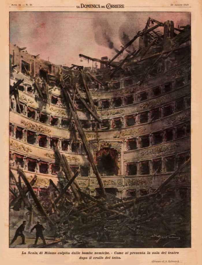 Оперный театр La Scala в Милане, пострадавший от вражеских бомб. Театральный зал после обрушения кровли - Achille Beltrame