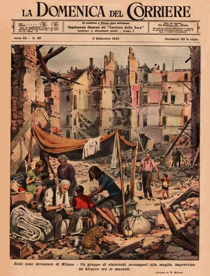 В пострадавших районах Милана. Группам бедствующих людей в большинстве случаев не остается ничего иного, как располагаться прямо посреди завалов - Walter Molino