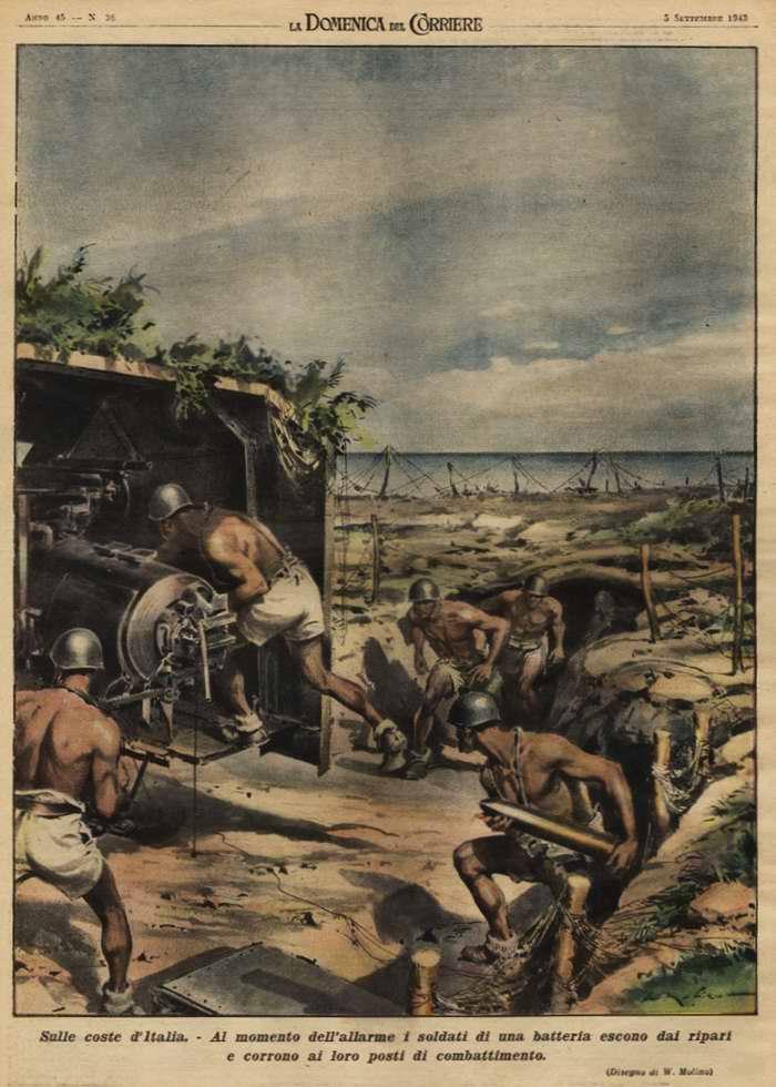 На побережье Италии. Когда звучат сигналы тревоги, итальянские артиллеристы быстро выскакивают из блиндажей и заступают на свои боевые посты - Walter Molino