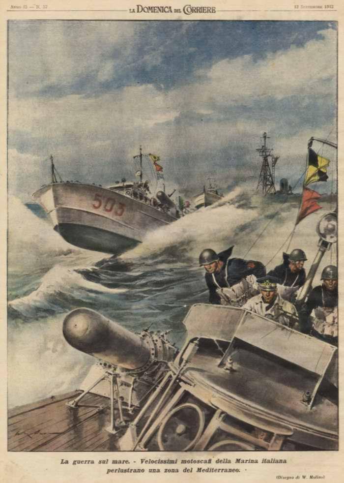 Война на море. Высокоскоростные военные катера ВМС Италии занимаются патрулированием одного из районов Средиземного моря - Walter Molino