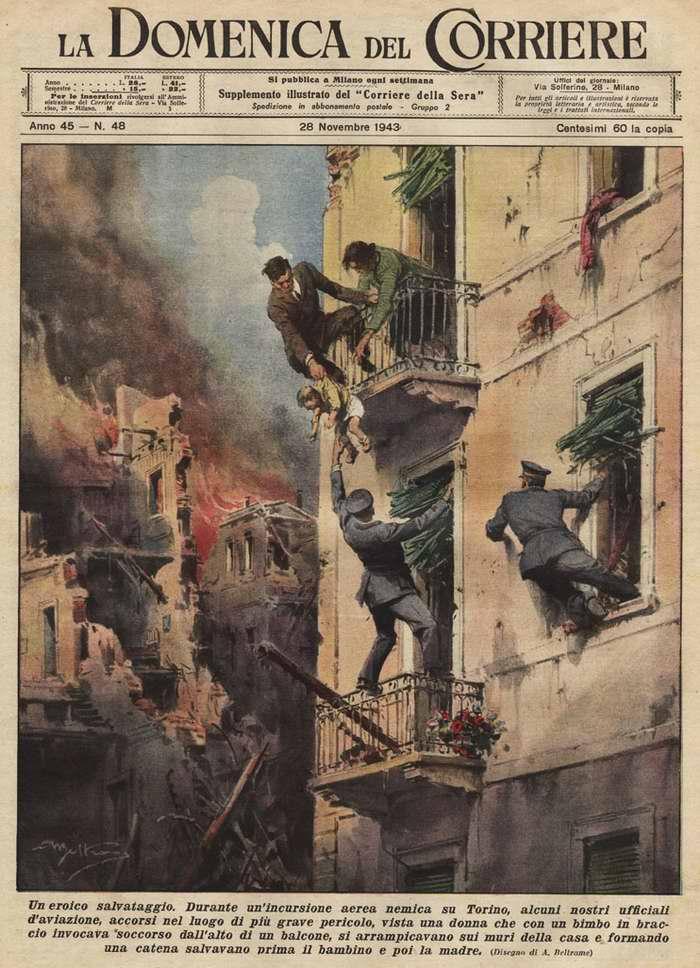 Самоотверженный поступок. Во время воздушного налета врага в Турине, несколько итальянских офицеров увидели женщину с ребенком, которая звала на помощь с балкона полуобрушенного дома. Они сумели забраться на стену и спасти их обоих - Achille Beltrame