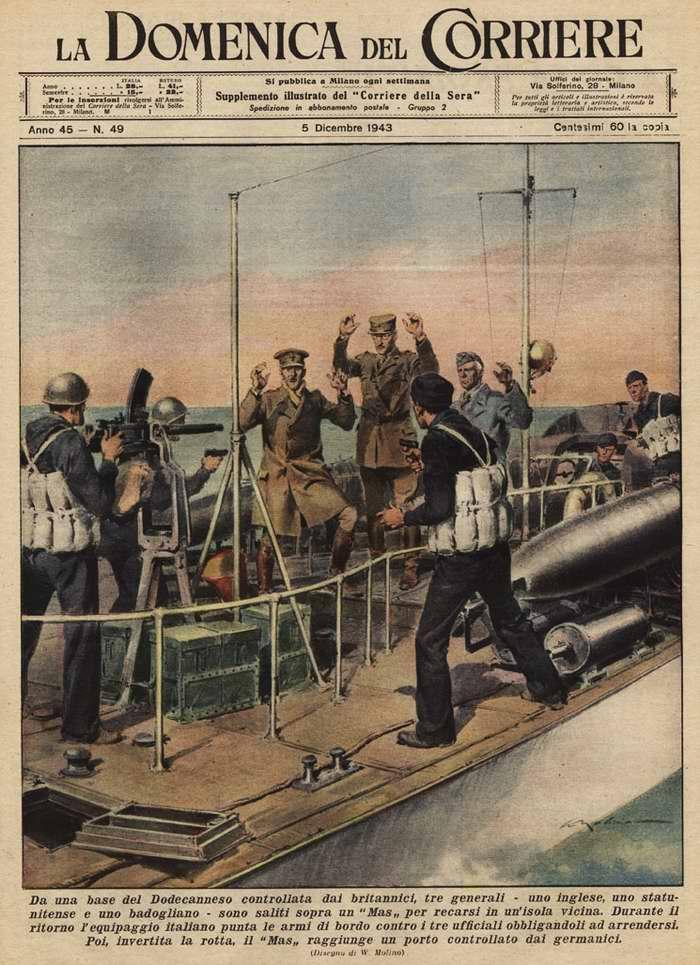 С греческой базы Додеканес двое английских и один капитулировавший итальянский генерал решили отправиться в инспекционный вояж к близлежащим островам на итальянском торпедном катере - Walter Molino