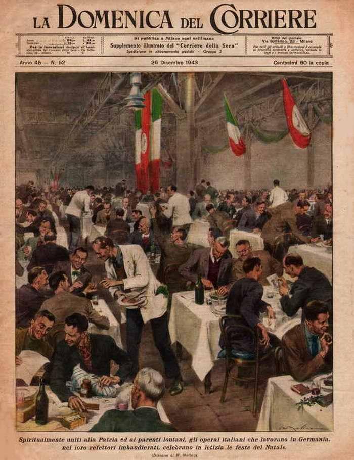 Итальянские рабочие, работающие в Германии, в своих столовых с радостью и задором празднуют рождественские праздники - Walter Molino