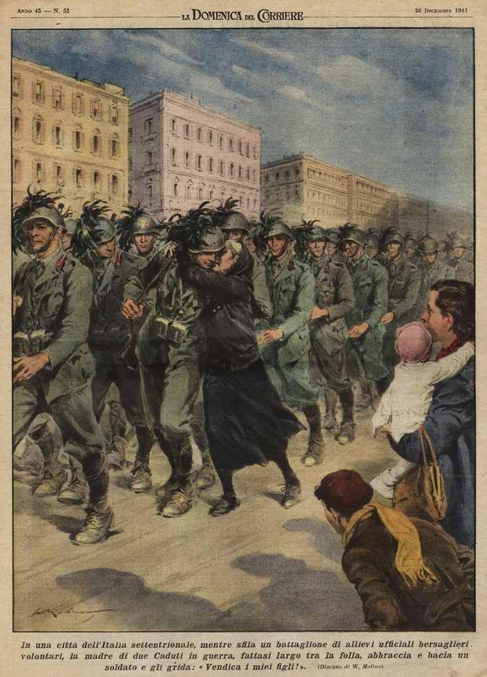 В одном из городов на севере Италии во время парада батальона воинов-добровольцев мать двоих солдат, погибших на войне, стала пробираться сквозь их толпу с объятиями и восклицаниями - Walter Molino
