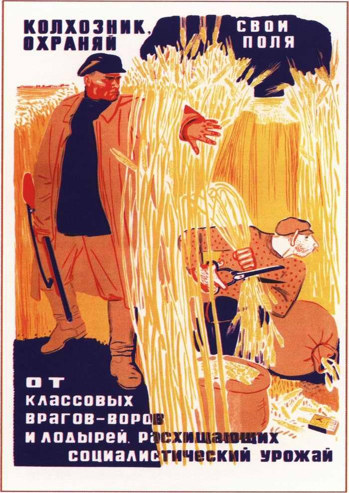 Колхозник, охраняй свои поля от классовых врагов и лодырей, расхищающих социалистический урожай (1933)