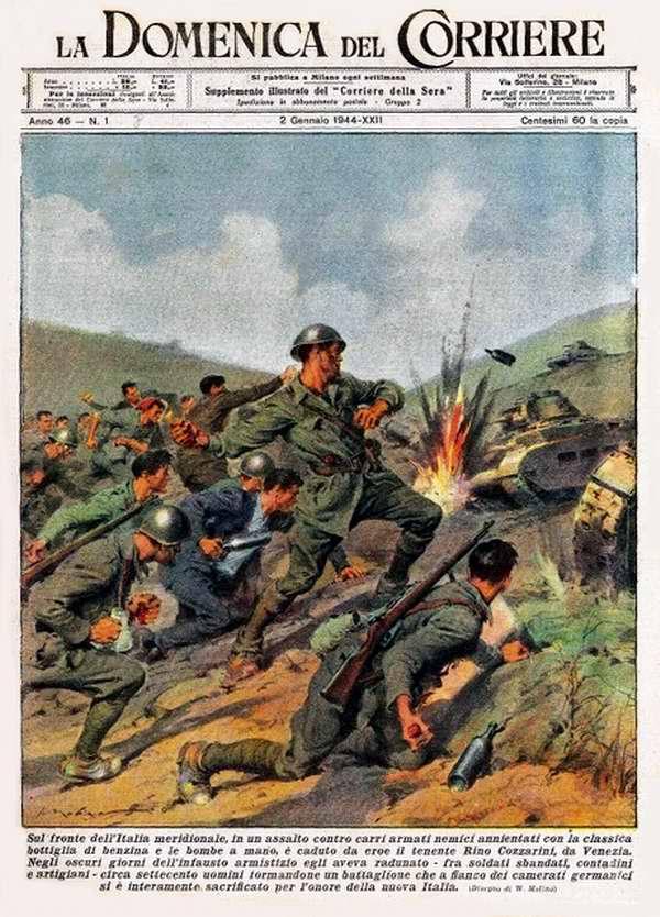 В условиях южной Италии отряд героя-лейтенанта Rino Cozzarini из Венеции осуществляет нападение на вражеские танки и уничтожает их при помощи гранат и классических бутылок с бензином - Walter Molino