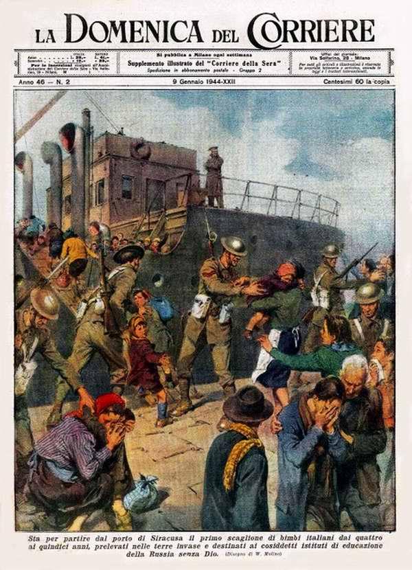 В порту города Сиракузы производится насильственный сбор первой группы итальянских детей в возрасте от четырех до пятнадцати лет - Walter Molino